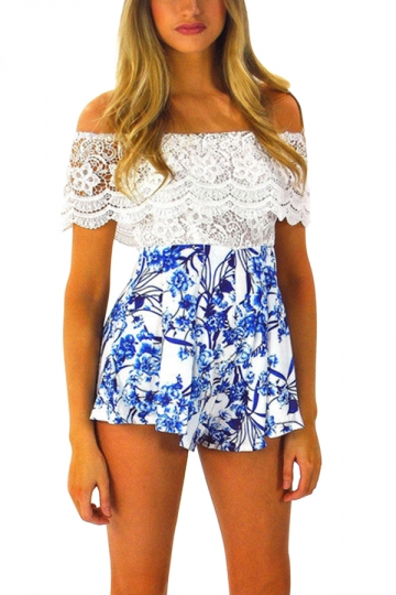 Blue Floral Printed Lace Bateau Stylish Womens Romper