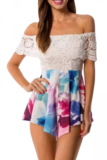Blue Lace Patchwork Floral Printed Off Shoulder Chic Ladies Romper