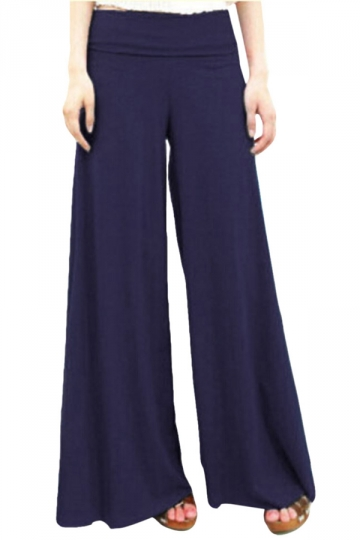 Navy Blue Modal High Waisted Womens Palazzo Leisure Pants