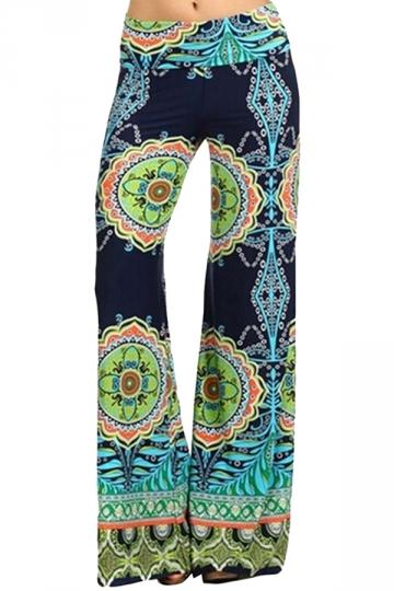 Blue Ladies Floral Printed Palazzo Leisure Pants