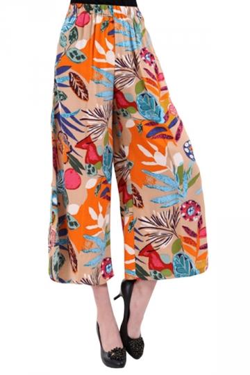 Orange Flower Printed Elastic Chic Womens Palazzo Leisure Pants