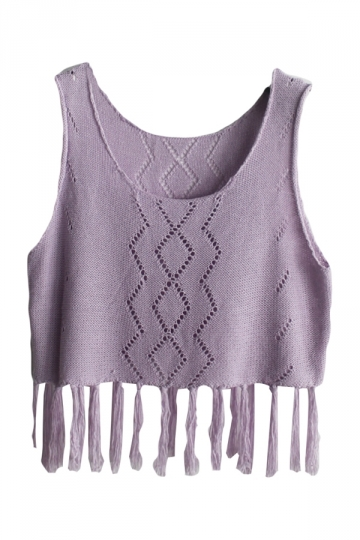 Purple Fringe Hollow Out Charming Womens Crochet Crop Top