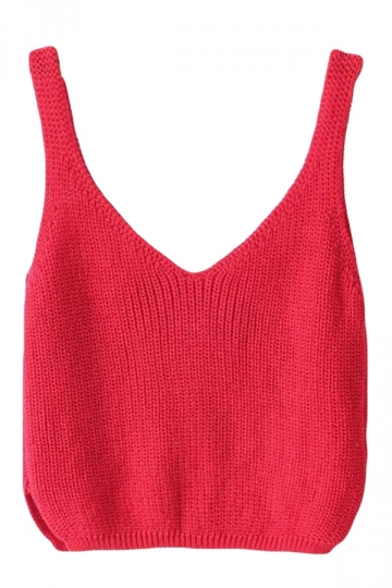 Red Sexy Charming Womens Crochet Crop Top