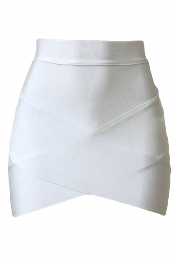 White Cross Bandage Sexy Chic Ladies Mini Skirt