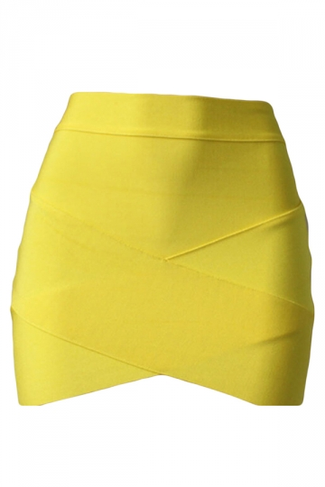 Yellow Cross Bandage Sexy Chic Ladies Mini Skirt