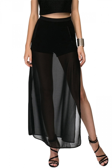 Black Mesh Patchwork Sheer Side Slit Sexy Ladies Maxi Skirt