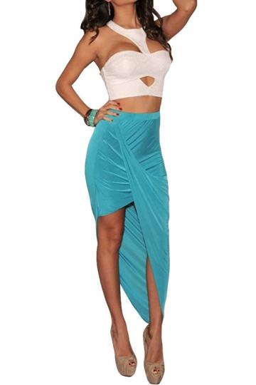 Blue Irregularly Pleated High Waisted Ladies Midi Skirt