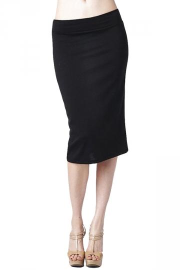 black plain chic bodycon midi skirt pink