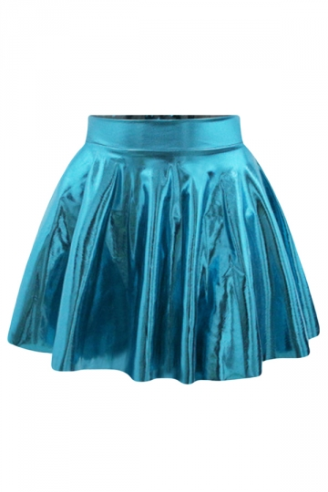 Blue Plain Liquid Stylish Ladies Pleated Skirt