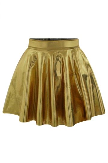 Gold Plain Liquid Stylish Ladies Pleated Skirt