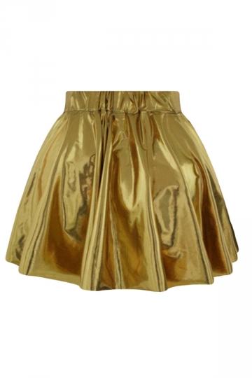 Gold Plain Liquid Stylish Ladies Pleated Skirt