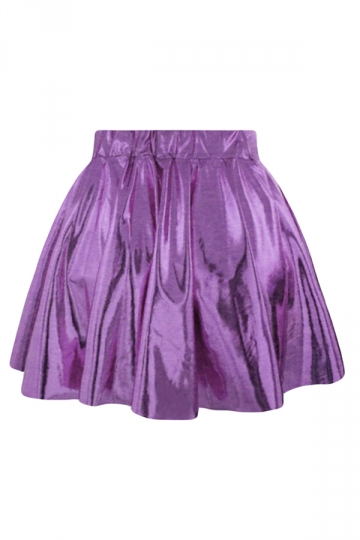 Purple Plain Liquid Stylish Ladies Pleated Skirt