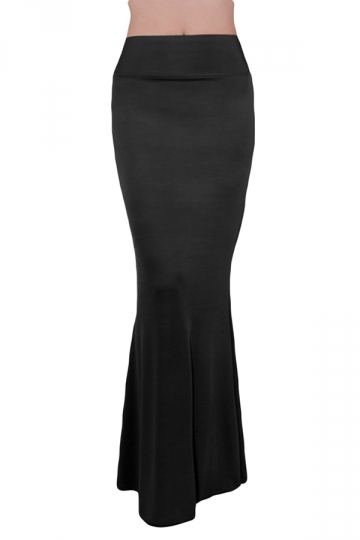 black plain high waisted slimming maxi skirt