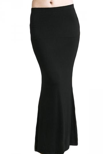 Black Plain Mermaid Slimming Womens Maxi Skirt