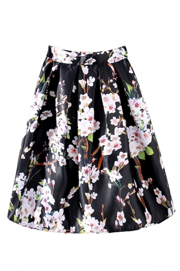 Black Flower Printed Stylish Womens Pleated Skirt
