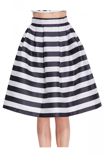 White Cross Stripes High Waisted Attractive Ladies Midi Skirt