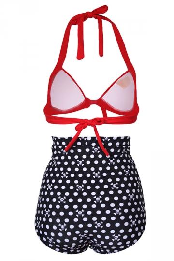 Blue Halter Bikini Top & High Waisted Polka Dot Swimwear Bottom