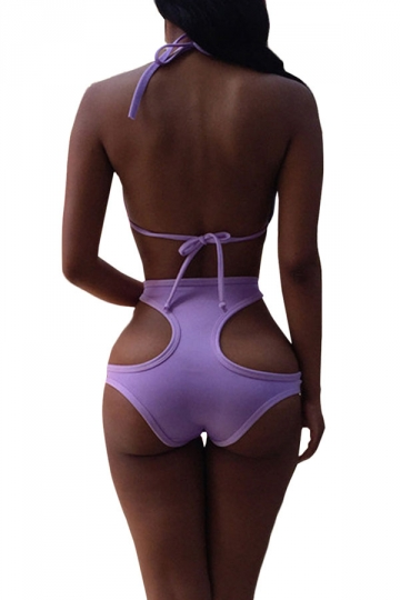 Purple Halter Sexy Bikini Top & High Waisted Cut Out Swimwear Bottom