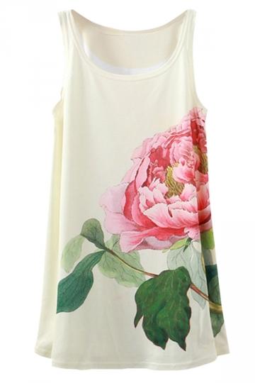 White Ladies Floral Printed Loose Tank Top