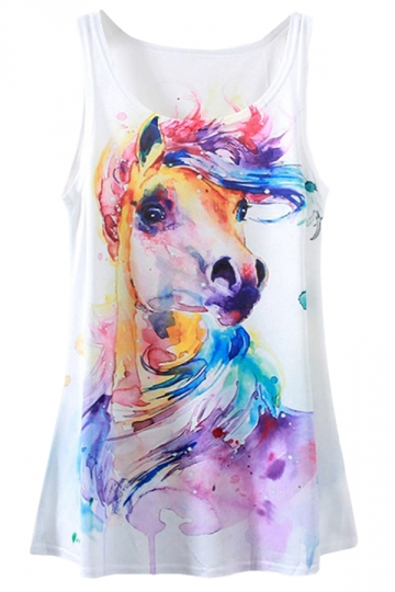 White Ladies Horse Printed Loose Tank Top