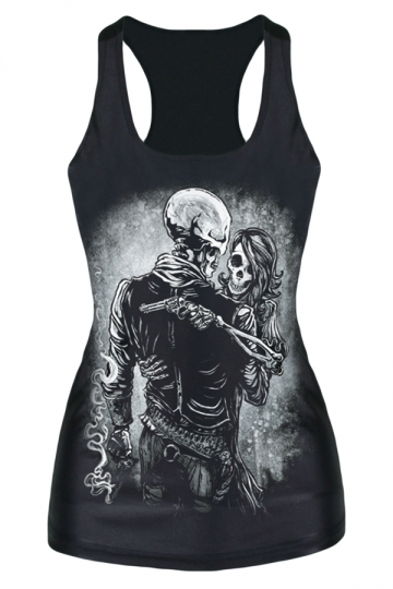Black Skull Man and Lady Printed Casual Chic Womens Tank Top