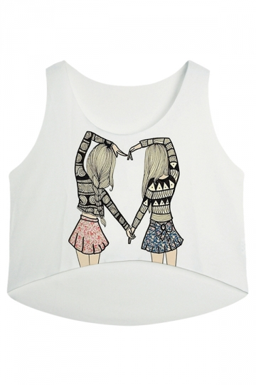 White Two Girls Printed High Low Casual Womens Crop Top
