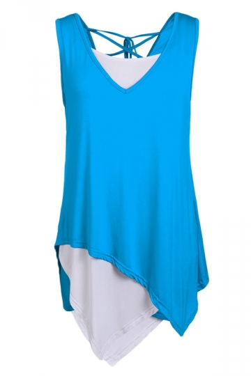 Blue Irregularly Back Cross Bandage Sexy Ladies Tank Top