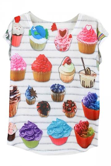 White Cakes Printed Batwing Sleeve Charming Ladies Tee Shirt
