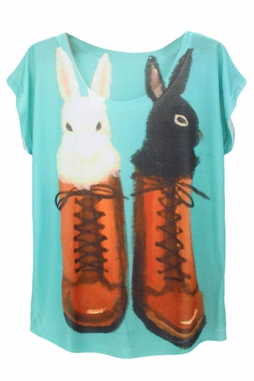 Blue Shoes Rabbits Printed Batwing Sleeve Charming Ladies Tee Shirt