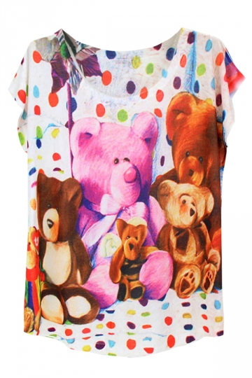 White Toy Bear Printed Batwing Sleeve Charming Ladies Tee Shirt
