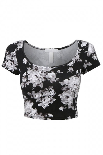White Floral Printed Sexy Chic Ladies Crop Top