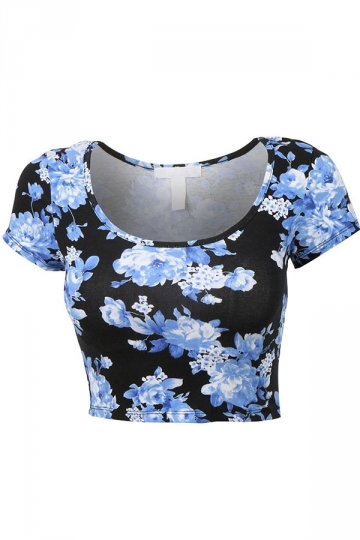 Blue Floral Printed Sexy Chic Ladies Crop Top
