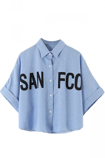 Blue Short Crop Batwing Sleeve Letters Printed Loose Womens Blouse