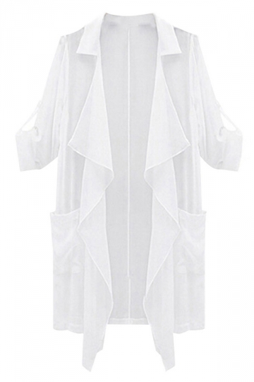 White Loose Plus Size Sunscreen Irregular Womens Trench Coat