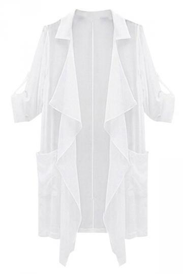 White Loose Plus Size Sunscreen Irregular Womens Trench Coat