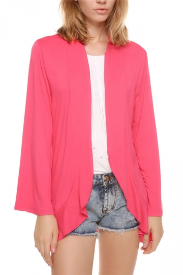 Rose Red Plain Flare Sleeve Irregular Casual Womens Blazer