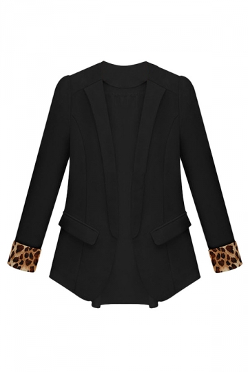 Black Ladies Leopard Patchwork Blazer