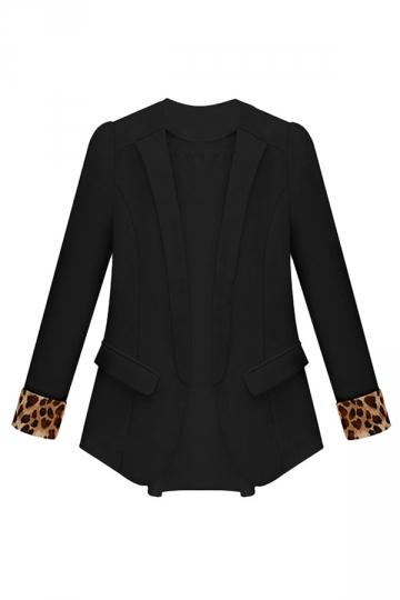 Black Ladies Leopard Patchwork Blazer
