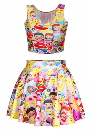 Red Chic Emoji Printed Skirt Suits