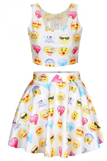 White Chic Emoji Printed Skater Skirt Suits
