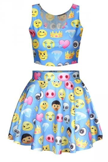 Blue Ladies Chic Emoji Printed Skater Skirt Suits