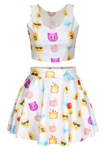 White Ladies Chic Emoji Printed Skater Skirt Suits