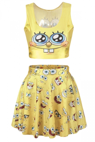 Yellow Cute Spongebob Printed Skirt Suit