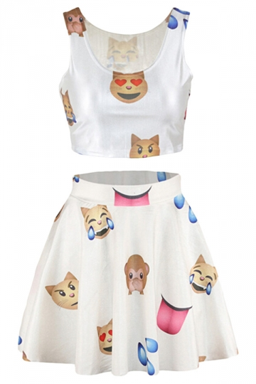 White Emoji Printed Sexy Chic Ladies Skirt Suit