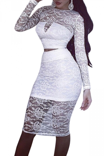 White Lace Long Sleeve Sheer Sexy Womens Midi Skirt Suit - PINK QUEEN