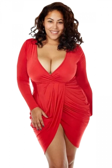 Womens Sexy Deep V Neck Ruched Long Sleeve Plus Size Dress Red ...