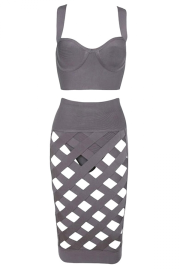 Gray Ladies Hollow Out Croptop Midi Dress Suit