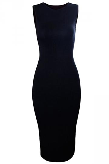 Black Ladies Sexy Plain Tight Bodycon Dress