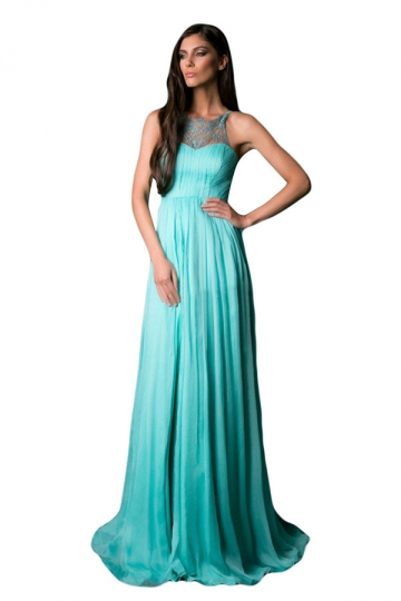 Turquoise Ladies Lace Sleeveless Evening Dress