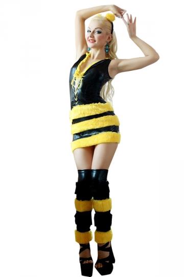 yellow faux leather cute womens bee halloween costume - Bee Halloween